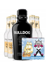 Bulldog Gin + 4 stk. Fever-Tree Indian Tonic + 8 Stk Lakridspiber