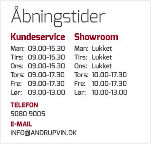 Åbningstider AndrupVin.dk